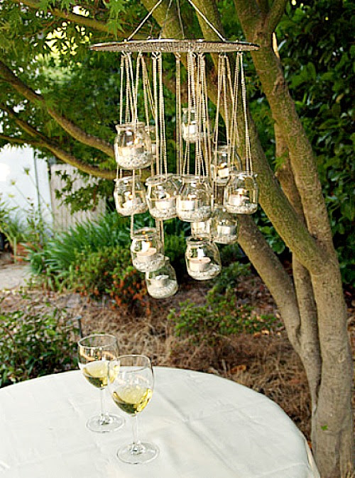 recycled glass jars made into a chandelier