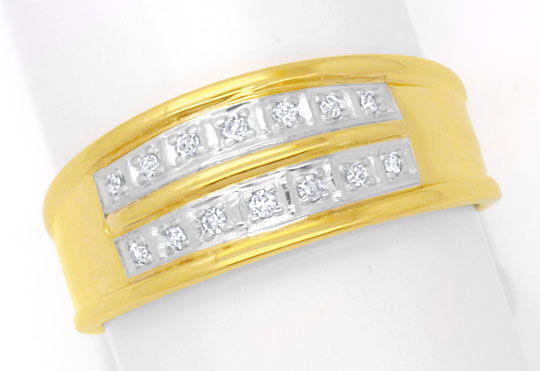 Originalfoto BREITER DIAMANTRING 14K GELBGOLD, 14 DIAMANTEN SHOP NEU
