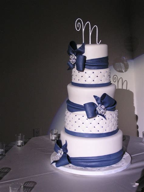 Navy Blue And White Wedding Cake   CakeCentral.com