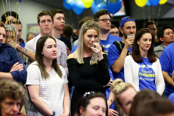 LNP supporters at the by-election after party look downcast