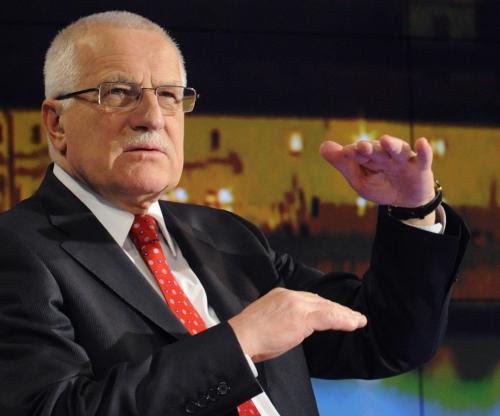 Prezident Václav Klaus 12. března v Praze v pořadu v TV Nova Rok s Václavem Klausem.