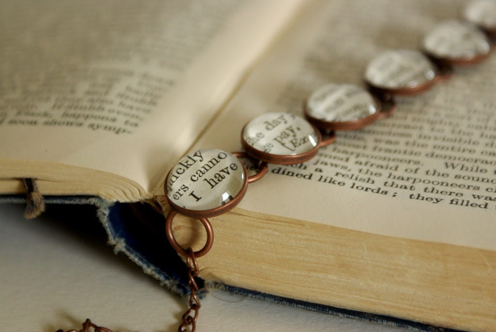 Literary bracelet, literary jewellery, Shakespeare, Bronze, glass
