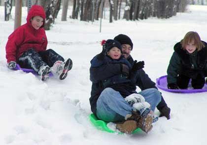 Spaß Schneeschlitten