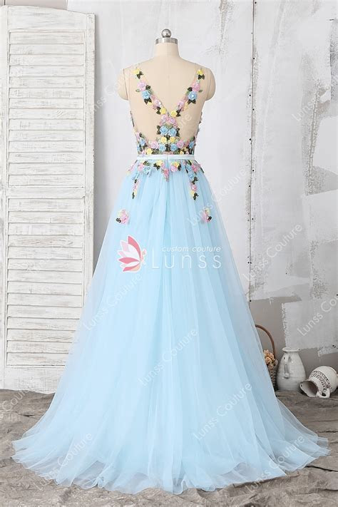 Baby Blue Beaded Embroidery Lace Tulle A line Long Prom