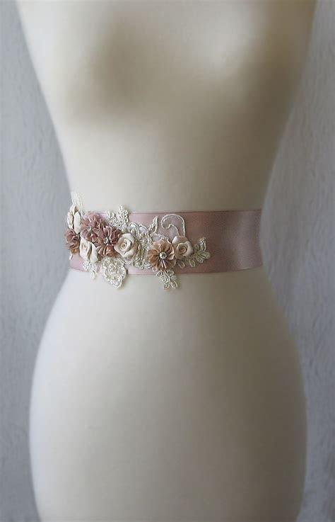 Dusty Rose Bridal Sash, Mauve Pink Wedding Belt with