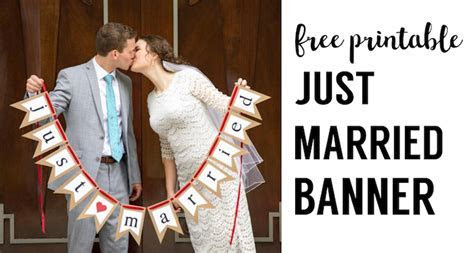 Free Printable Just Married Banner   Paper Trail Design
