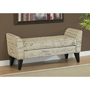 benches stools modren script fabric light beige accent