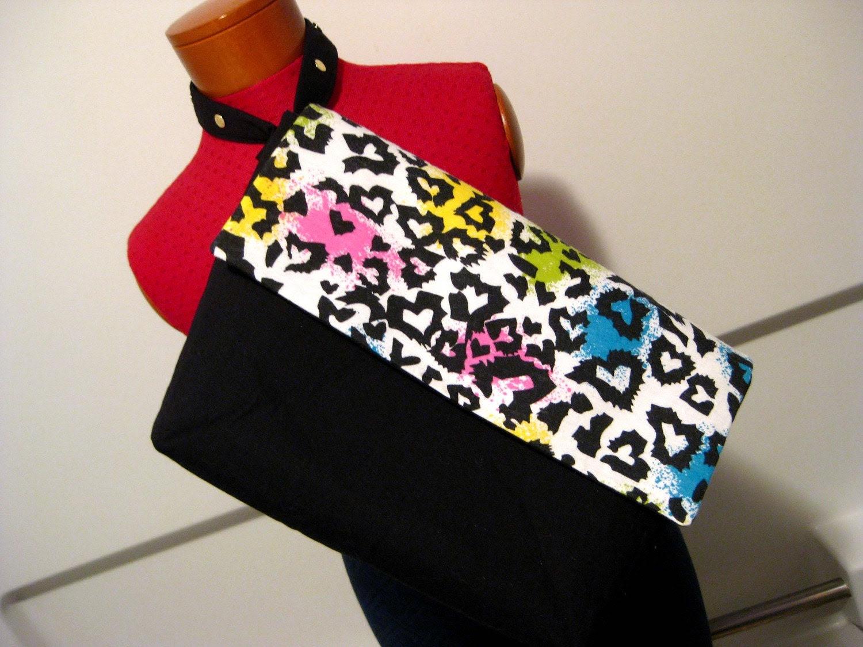 Upcycled Multi-Colored Leopard Print and Black Big Rakc Extra Large Wristlet