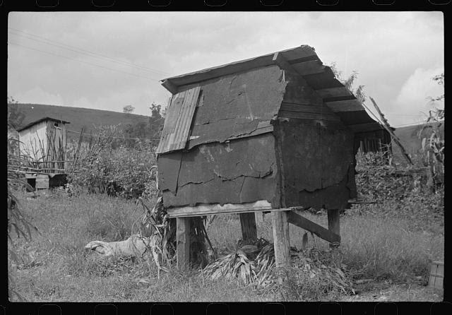 Corn crib in Negro coal miner's backyard, Bertha Hill, Scotts Run, West Virginia