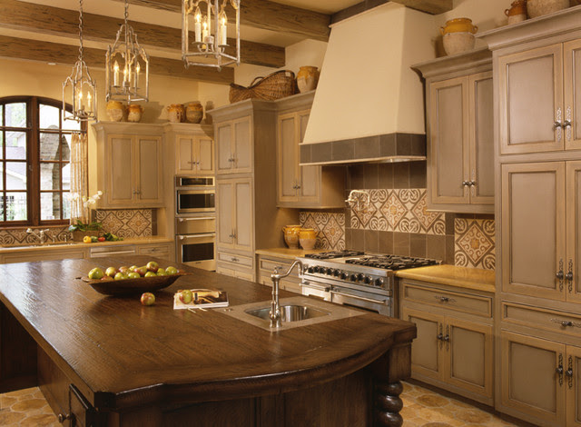 Two Color Grey and Crème Kitchen Cabinets - mediterranean ...