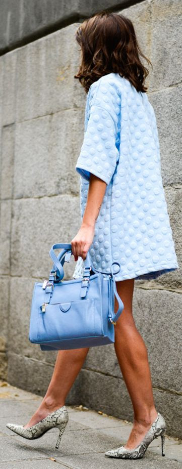 Storets Baby Blue Bubble embossed Dress by Lovely Pepa