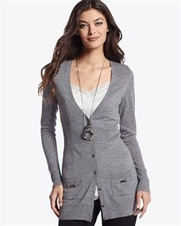 White House Black Market Grey Boyfriend Cardigan