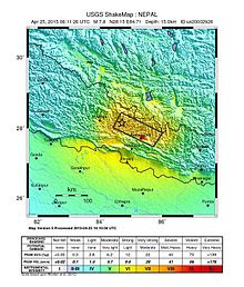 2015 Nepal earthquake ShakeMap.jpg