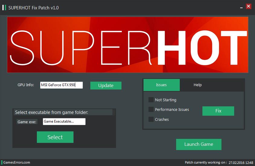 SUPERHOT Errors Fix Patch