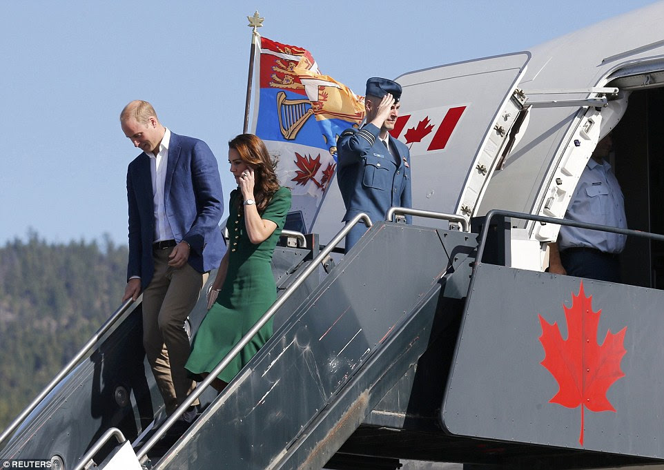 William and Kate step off the plane in Kelowna, British Columbia, on Tuesday as they continue their royal tour of Canada