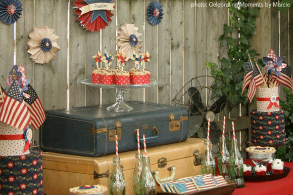 Vintage 4th of July dessert table