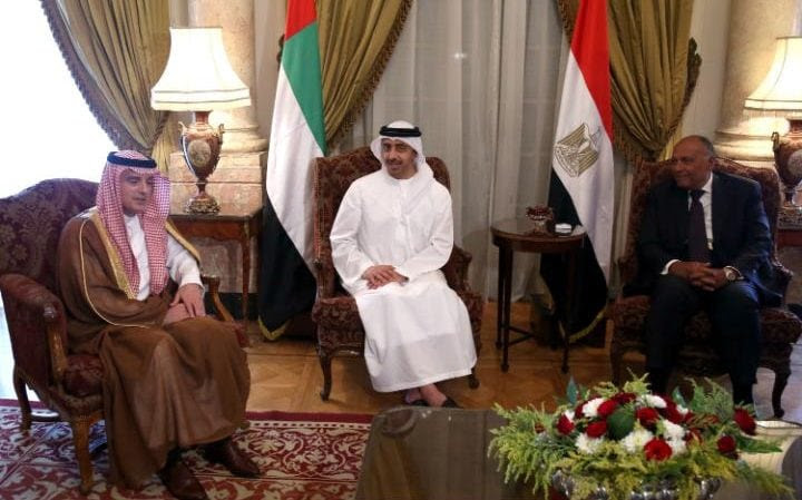 Foreign ministers from Saudi Arabia, UAE, Egypt and Bahrain gathered in Cairo