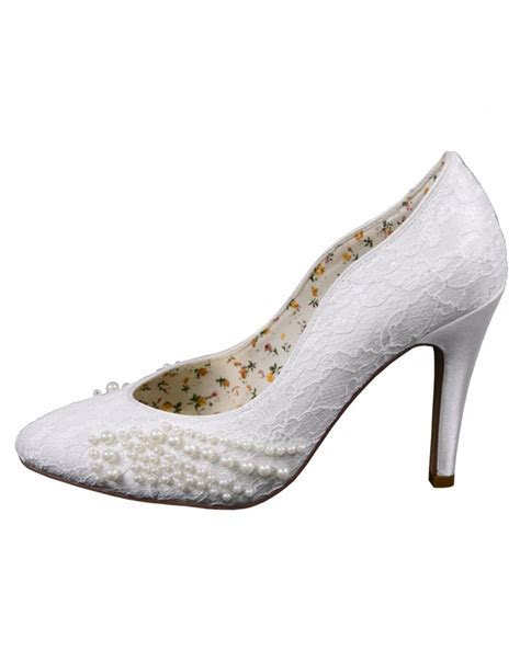 Ivy   Vintage Lace and Pearl Bridal Shoe   Wedding Nites