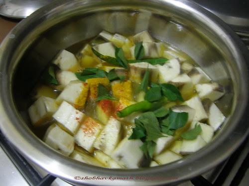 Raw Banana curry 6
