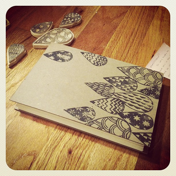 Finally used some of my carved stamps on @choybot 's handmade sketchbook - thanks Monica!