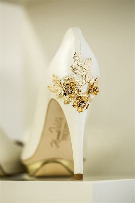 gold bridal shoes ideas  pinterest gold