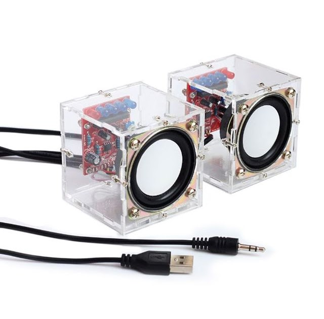 Mini Electronic Transparent Speaker Box DIY Kit Sound Amplifier Music Audio 3Wx2