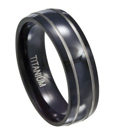 Black Titanium Wedding Ring for Men, Silver Accent Bands, 7mm
