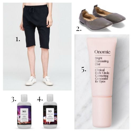 OAK Shorts - M.Gemi Flats - R+Co Shampoo - R+Co Conditioner - Onomie Concealer
