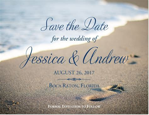 Beach Footprints Wedding Save the Date and Announcement