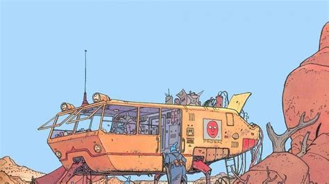 Artwork vehicles traditional art moebius french artist