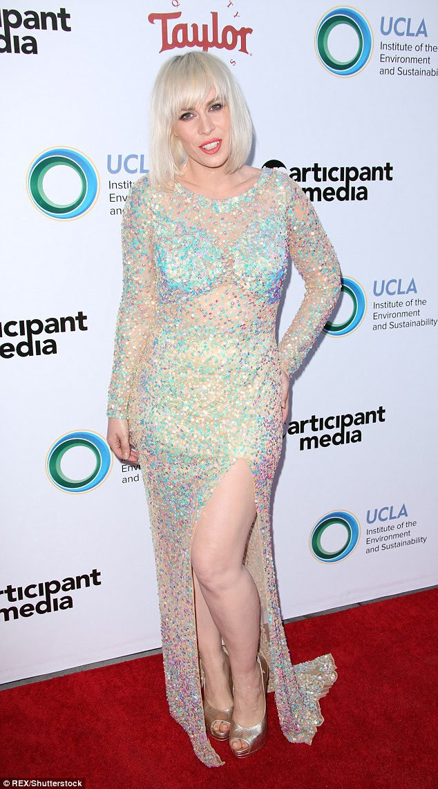 Head-to-toe sparkles: Natasha Bedingfield was the centre of attention at theUCLA Institute of the Environment and Sustainability's event in Los Angeles on Thursday