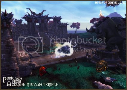 Rioriel and Nevik's daily World of Warcraft screenshot presentation of significant locations, players, memorable characters and events, assembled in the style of a series of collectible postcards. -- Postcards of Azeroth: Niuzao Temple