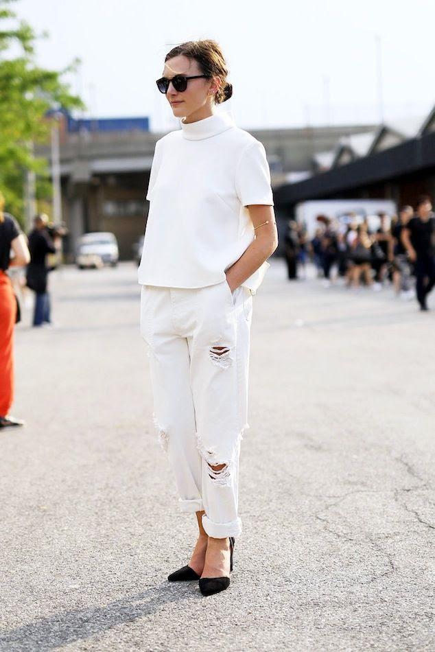 Le Fashion Blog NYC Street Style Low Bun Sunglasses White On White Top Ripped Boyfriend Jeans Black Heels Via Popsugar photo Le-Fashion-Blog-NYC-Street-Style-Low-Bun-Sunglasses-White-On-White-Top-Ripped-Boyfriend-Jeans-Black-Heels-Via-Popsugar.jpg