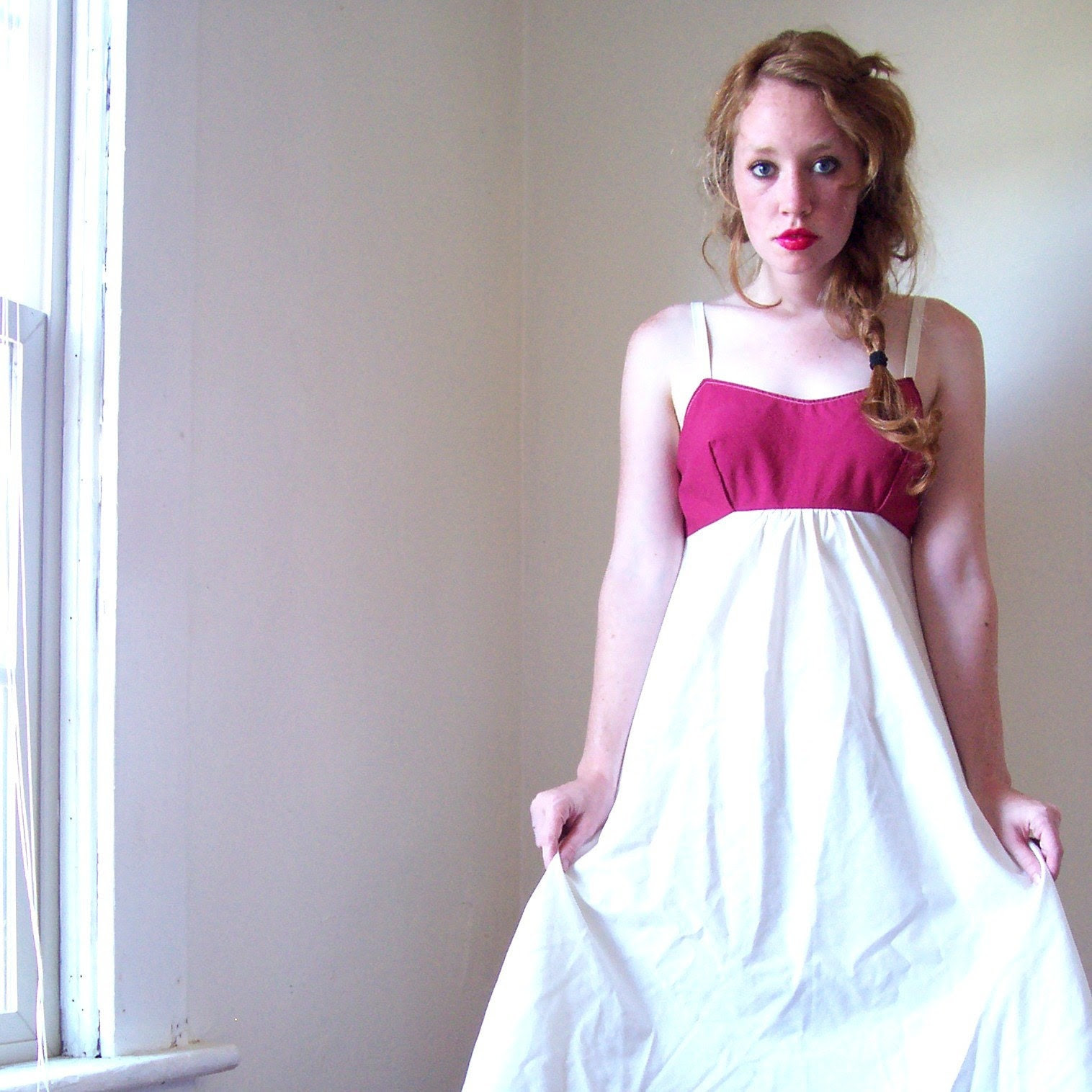 Raspberry Cream Babydoll Dress