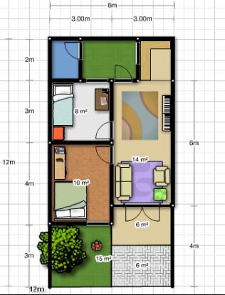 Kumpulan Gambar Desain Rumah 3 Kamar 6X12 Yang Bisa Anda Tiru Download
