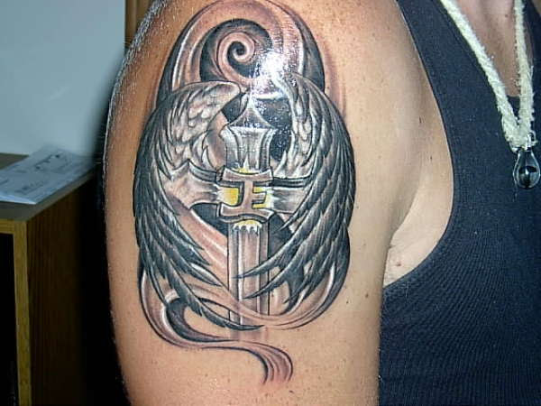Cross N Angel Wings Tattoo
