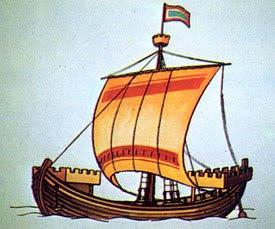Реконструкција изгледа сагене, брзог ратног брода са посадом од 40 веслача – бораца на коме су пловили Неретљани (X век).
