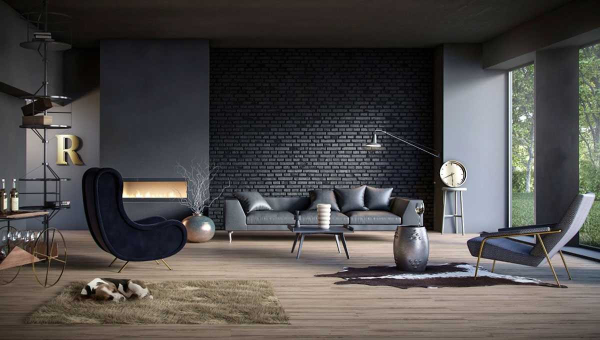 10 Splendid Living Rooms With Black Brick Wall For Dramatic