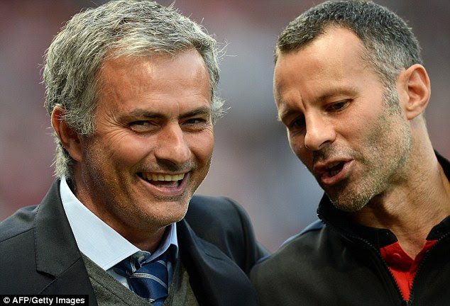 The former Chelsea boss will replace Louis van Gaal but hopes to keep Ryan Giggs (right) at the club