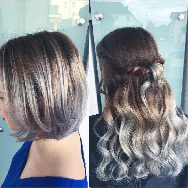 Ombre Hair Brown To Grey Blonde