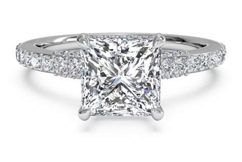 French Set Pave & Micropave Engagement Ring in Platinum