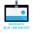 white with blue line and dot
