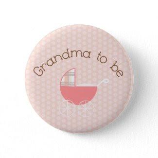 Grandma to Be Pink Pram Button button