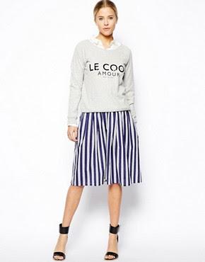 Image 1 ofASOS Woven Midi Skirt in Stripe