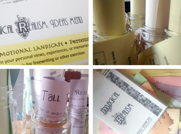 Collage of differently coloured handouts in jars and lying on the table