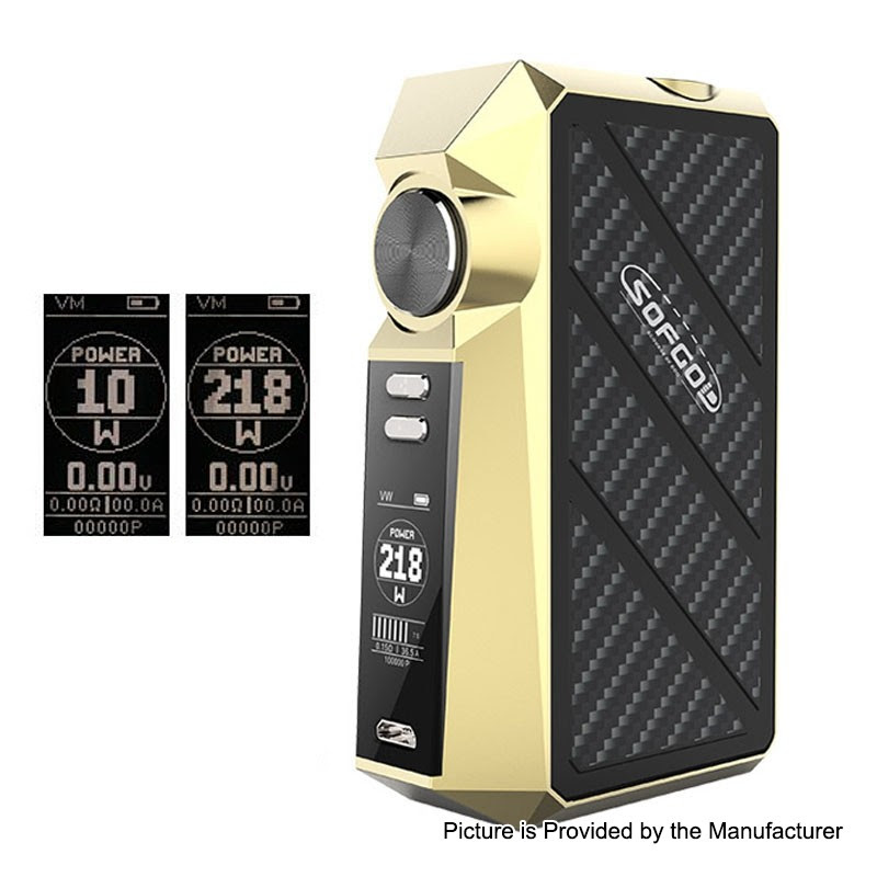 Authentic Sofgod R03 218W Gold TC VW Variable Wattage Box Mod - $36.99