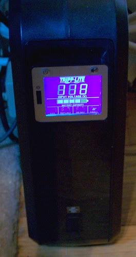 the new UPS: Tripp-Lite 1000VA ($90 at Costco)