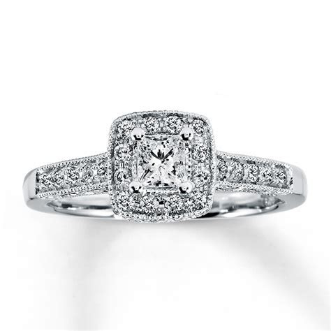 Diamond Engagement Ring 1/2 ct tw Princess Cut 14K White
