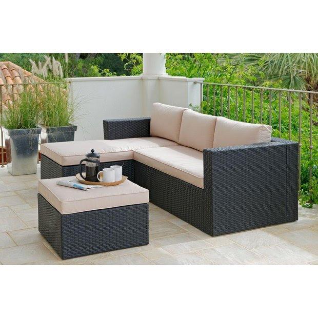 Buy Rattan Effect 3 Seater Mini Corner Sofa - Black at ...