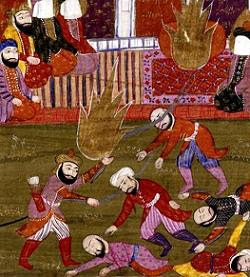 The massacre of the Banu Qurayza.  Miniature painting The Prophet, Ali, and the Companions at the Massacre of the Prisoners of the Jewish Tribe of Beni Qurayzah, illustration of a 19th century text by Muhammad Rafi Bazil. Manuscript (17 folio 108b) now housed in the British Library.